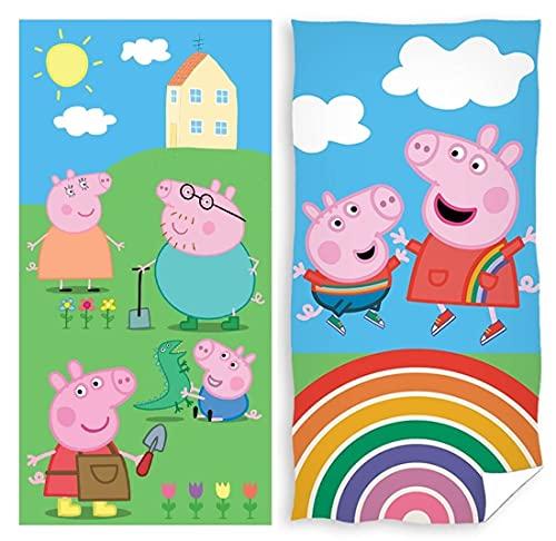 rainbowFUN.de Peppa Pig - Juego de 2 toallas de mano (70 x 140 cm, algodón), diseño de Peppa Pig