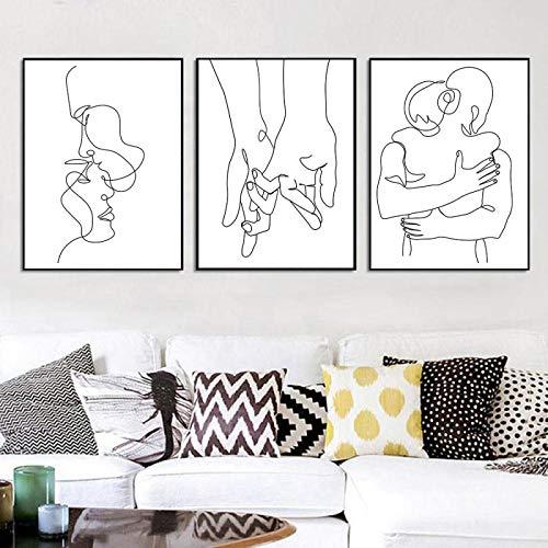 PYROJEWEL Pintura en Lienzo Dibujo Lineal Pareja Mano Amor Beso Arte de la Pared póster nórdico Impresiones Minimalistas Cuadros de Pared decoración del Dormitorio 30x40cmx3 sin Marco