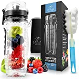 Zulay Water Bottle with Fruit Infuser for Healthy & Delicious Hydration - Flip Top Lid, Anti-Slip & BPA Free, with...