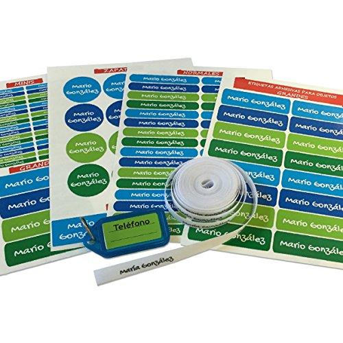 Pack de 146 etiquetas para marcar ropa y objetos. (Paleta 5) 50 etiquetas de tela + 84 etiquetas adhesivas + 12 etiquetas para zapatos + 1 llavero