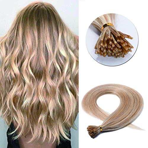 SEGO Pre Bonded Keratin Stick/I Tip Remy Human Hair Extension Cold Fusion Hair Piece for Women Smooth Straight 100 Strands/pack 18 Inch #18P613 Ash Blonde&Bleach Blonde 50g