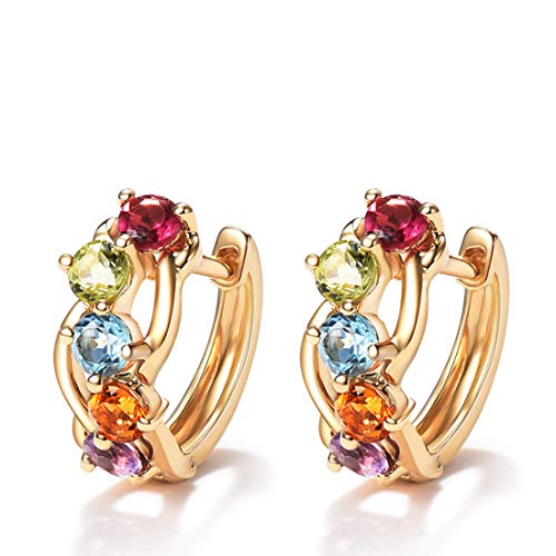 FANCIME 14K Solid Yellow Gold Multi Colored Gemstones Hinged Huggie Small Hoop Earrings Dainty Delicate Fine Jewelry For Women Girls