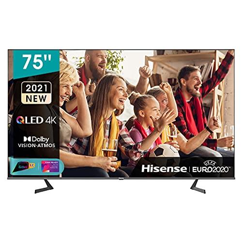 Hisense 75' QLED 4K 2021 75A78GQ, Quantum Dot, Smart TV VIDAA 5.0, HDR Dolby Vision, IPS, Audio Dolby Atmos, Controlli vocali Alexa/Google Assistant, Tuner DVB-T2/S2 HEVC 10, lativù 4K