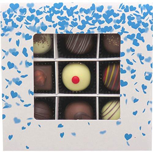 Hallingers 9er Pralinen-Mix handgemacht, mit/ohne Alkohol (108g) - Blue Hearts (Pralinenbox) - zu Muttertag & Vatertag