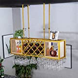 AERVEAL Hanging Stemware Racks Adjustable Height Wrought Iron Grid Wine Bottle Holder Metal and Wood Stemware Holder to Hang Cocktail or Champagne Flutes for Bar Pubs Rack,100Cm(39.4In),100Cm(39.4In)