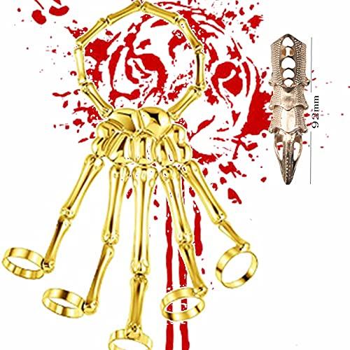 XIAOBUDIAN - Esqueleto de dedo, pulsera de calavera con esqueleto esclavo, pulsera, anillo punk, gótico, Finger Rings para adultos, hombres, mujeres, Navidad, Halloween, regalo (A1)
