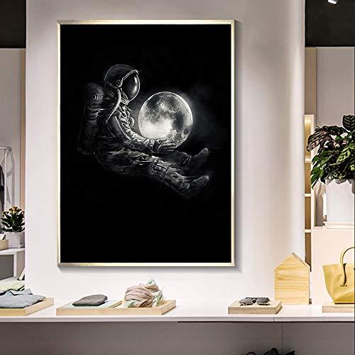 MJKLU Pintura de Planeta Astronauta Solitaria decoración del hogar Cartel de impresión HD Sala de Estar habitación de los niños Dormitorio Pasillo Arte Pintura de Pared