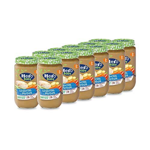 Hero Baby - Tarrito de Verduritas con Merluza, Ingredientes Naturales, para Bebés a Partir de los 8 Meses - Pack de 12 x 235 g
