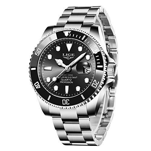 LIGE Uhren Herren Elegant Edelstahl Sports Wasserdicht Analoger Quarzuhr Klassische Business Design Chronograph Schwarzer Armbanduhr…