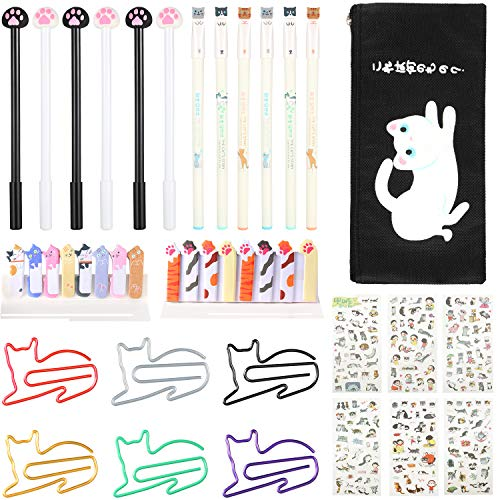 Cute Cat School Supplies Set, 12 Kawaii Cat Gel Ink Pens 30 Cat Paper Clips 200 Cat Stickers 360 Bookmark Page Flags with Cat Pencil Pouch for Cat Lover Stationery