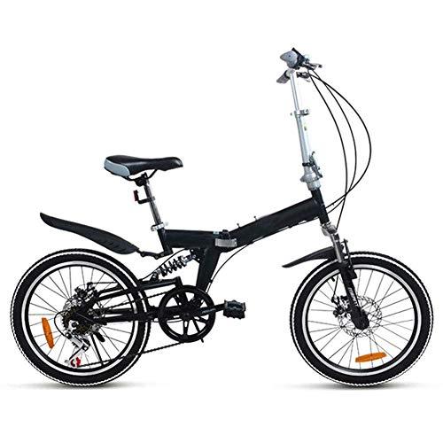 Lsmaa Mountainbike, Faltrad Fahrrad 7Speed 20 Zoll Doppelscheibenbremse Springergabel Softheckrahmen Gewöhnliche/Standard-Aluminium-Legierung (Color : Black)