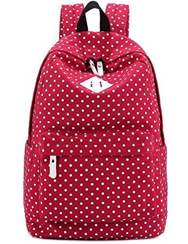 Qearly Kawaii Ultra Léger Portable Sac Toile Sac à Dos Sac à dos sport Sac à dos Collège Rucksack-Rouge