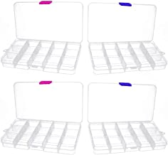 Cxjff 4pcs Plastic Jewelry Organizer with Detachable Adjustable Divider Multipurpose Storage Box(Set 1)