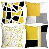 Sallydream- Fundas Cojines 45x45 Amarilla 4 Piezas Geometría Simple Moda Sofa Square Funda de Almohada Decoración del Hogar Oficina Coche Lugar de Ocio (A)