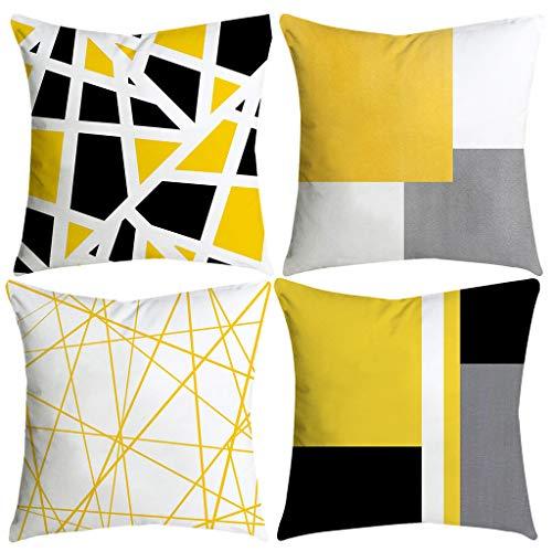 FeiliandaJJ 4er Set Kissenbezug Gelb 45x45cm,Super Weich Kopfkissenbezug,Irreguläre Geometrische Muster Kissenhülle,Deko Sofakissenbezüge Pillowcase für Couch Wohnzimmer Sofa Bed Auto (A)