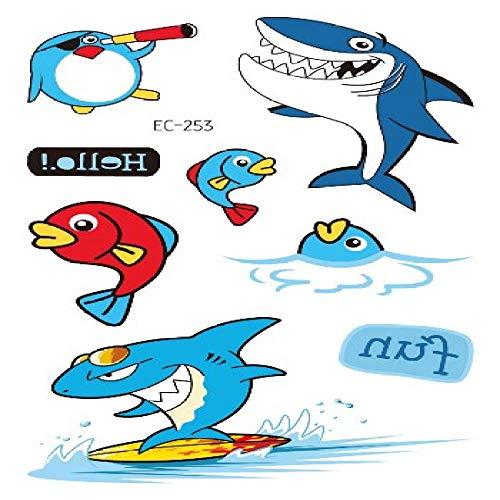adgkitb 5pcs Requin Pirate Tatouage pour Enfant de Bande dessinée Faux Enfants tatuajes temporales Art imperméable Autocollant de Tatouage temporaire EC-253 12 x 7.5 cm