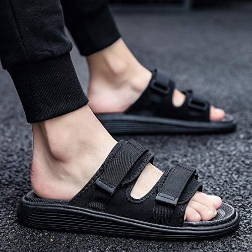 B/H Damen Diabetes Schuhe Air Cushion,Sommer verstellbare Hausschuhe, Klettkorrektur Sandalen-schwarz_40,Opa Schuh