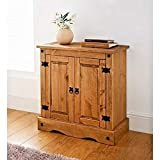 Mews Corona 2 Door Small Sideboard, Mexican Style Waxed, pine, 75cm W x 36cm D x 73cm H