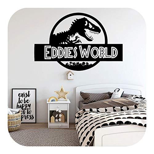 Pegatinas de pared de dinosaurios para decoración de habitación de niños, diseño de Jurassic World, pegatinas de vinilo...