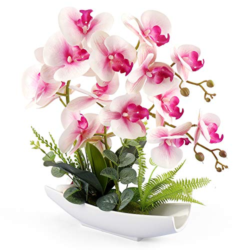 YOBANSA Decorative Real Touch Silk Orchid Bonsai Artificial Flowers with Imitation Porcelain Flower Pots Phalaenopsis Fake Flowers Arrangements for Home Decoration (New Pink 2)