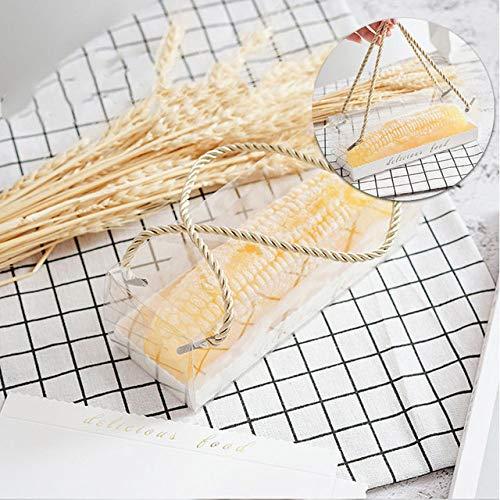 geschenkdoos LKU 10st transparante cakedoos met handvat cake Zwitsers transparant plastic draagbaar, 22.5x7.8x7.8cm