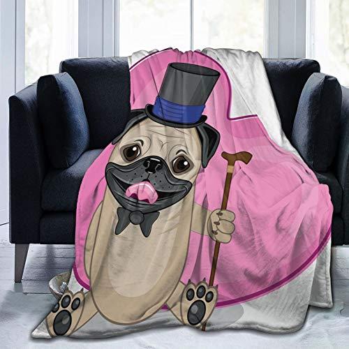 Manta mullida, presentable con un gorro superior y un bastón en la parte delantera de un corazón gigante, manta de bebé ultra suave para dormitorio, cama, TV, manta de cama de 80 x 60 pulgadas