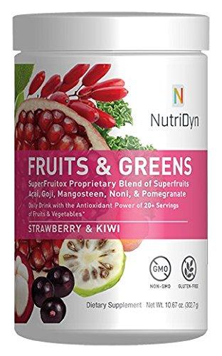 NutriDyn Fruits & Greens Strawberry/Kiwi Flavor *Certified Organic* w/ Acai, Gogi, Mangosteen, Noni & Pomegranate Super Fruits 300 Grams (Strawberry Kiki)