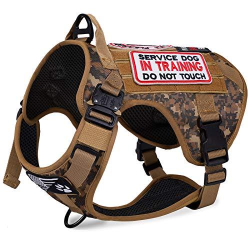 voopet Arnés táctico para perro con 6 etiquetas extraíbles, ajustable, sin tirar, chaleco para perro con ganchos y paneles de bucle para parches de identificación, chaleco de entrenamiento de entrenamiento para mascotas K9 con mango de fácil control