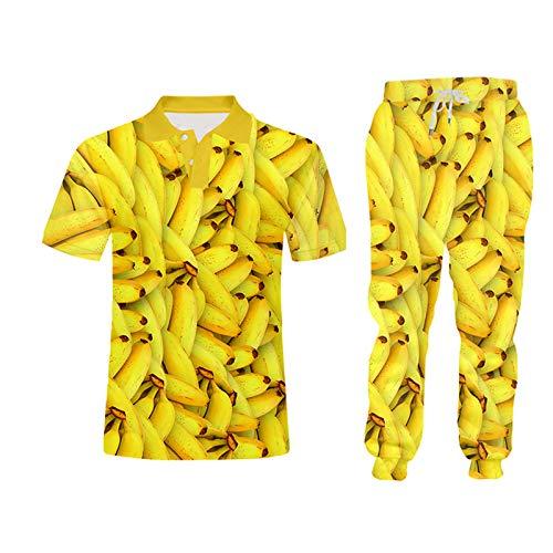 3D Hombre Tanque Fruit Banana Traje de 2 Piezas Camisa Impresión 3D Chaleco Sudadera con Capucha Camisas Shorts Sets PLPAL0169 6XL