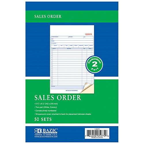 BAZIC 50 Sets 5 9/16' x 8 7/16' 2-Part Carbonless Sales Order Book, 1-Pack