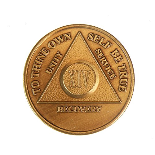 14 Year Bronze AA (Alcoholics Anonymous) - Sober / Sobriety / Birthday / Anniversary / Recovery / Medallion / Coin / Chip