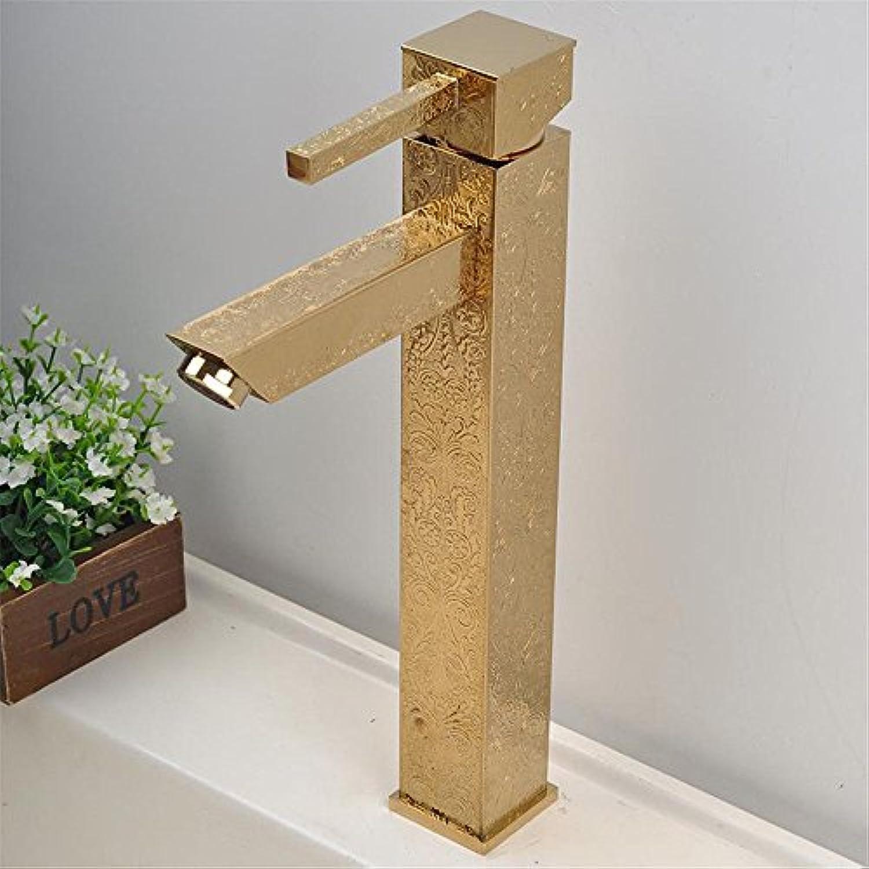 EinfacheKupfer hei und kalt Wasserhhne Küchenarmatur Mode kreative Modelle gemischt Wasserhahn Quadrat Gold Muster heies und kaltes Wasser Kopf Drachen Geeignet für alle Badezimmer Küchenspülen