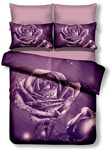 DecoKing 00946 Bettwäsche 135x200 cm mit 1 Kissenbezug 80x80 lila 3D Microfaser Bettbezug Rosa Blumenmuster violett Pflaume Meredith