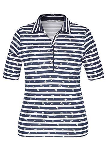 Rabe Damen Polo-Shirt mit Allover-Ringeln und Palmen-Print