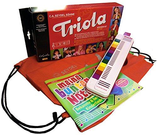 TRIOLA 12 Kompakt-Set mit Tasche für Instrument und Noten: die beliebte Blasharmonika mit farbigen Tasten für Kinder im Set mit dem Triola-Liederbuch MEINE BUNTEN NOTEN mit über 30 Kinderliedern