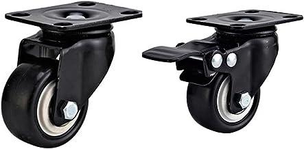 Set van 4 wielen voor meubels + schroeven, 50 mm, 200 kg, zwenkwielen met rem, voor heavy duty meubels en meubelwielen (2 ...