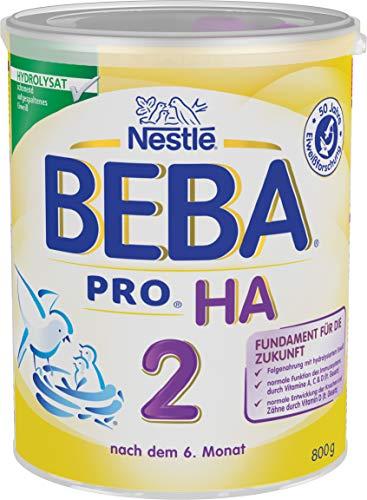Nestlé BEBA PRO HA 2, Folgenahrung nach dem 6. Monat, Pulver, mit hydrolysiertem Eiweiß, enthält Omega 3 & 6 Fettsäuren, 1er Pack (1 x 800g)
