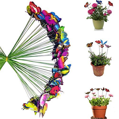 Antallcky 100pcs Butterfly Stakes Outdoor Yard Planter Flower Pot Bed Garden Decor Butterflies Christmas Decorations,Butterflies on Metal Wire Plant Stake,Fairy Garden Accessories Gardening Gifts