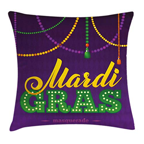 Mardi Gras - Funda de cojín, cuentas y borlas, diseño de caligrafía, diseño de máscara y caligrafía, estampado divertido, funda de almohada decorativa cuadrada, 40,64 x 40,64 cm, color morado