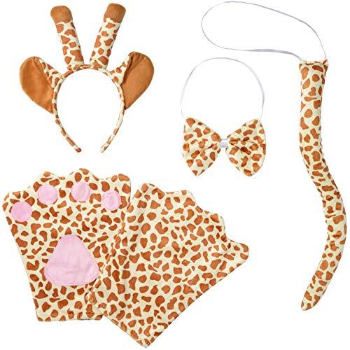 dressforfun 302037 - Kostüm Set Giraffe für Kinder, Haarreif mit Ohren und Hörnern, Handschuhe, Fliege und Schwanz