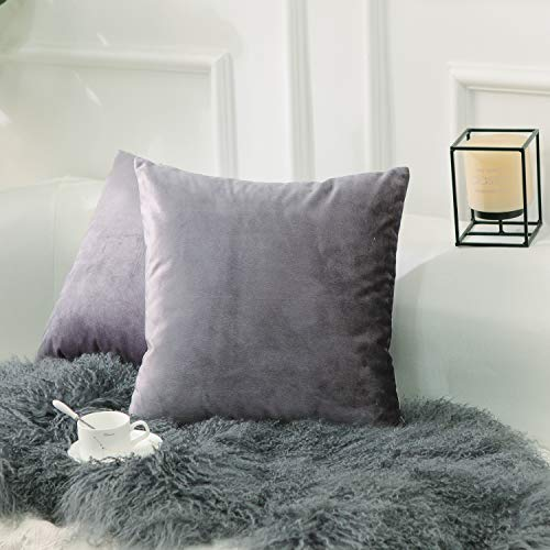 Home Brilliant 18x18 Accent Pillowcases Solid Velvet Decorative Super Soft Bed Throw Pillows Cover for Bedroom Car Indoor Body Teengilrs Babygirl(2 Pieces), 45x45 cm, Lilac