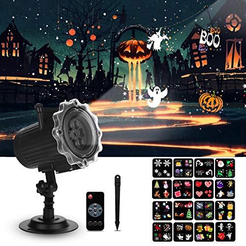 Qxmcov LED Projektor Lampe, Weihnachten Halloween Projektor Licht mit 16 Umschaltbares Muster, Wasserdicht Projektionslicht Dekoration für Halloween Weihnachten Hochzeit Valentinstag