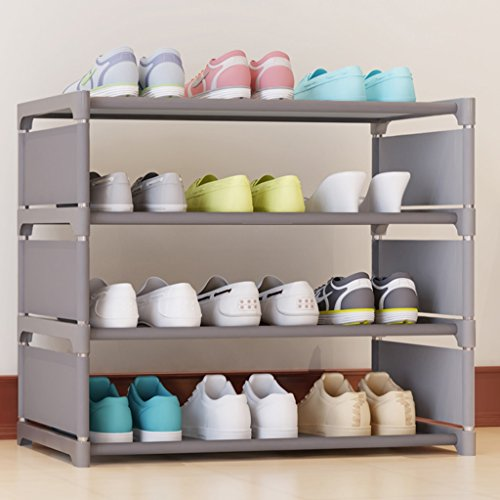 Chaussure Rack de Iron Multiple Layers Assembly Incorporated Storage Shoes Shelf Modern Simple Boîte à Anti-poussière (Couleur : Gray)