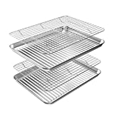 ROTTAY Baking Sheet with Rack Set (2 Pans + 2 Racks), Stainless Steel Cookie Sheet with Cooling Rack, Nonstick Baking Pan, Warp Resistant & Heavy Duty & Rust Free, Size 16 x 12 x 1 Inch