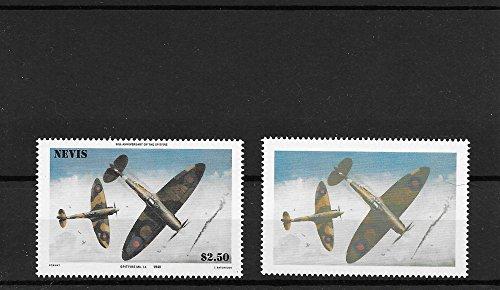 Postzegels voor Verzamelaars - 1940 Spitfire Mk. 1 Een vliegtuig fout stempel Set Geen land of waarde MNH Set van 2 stempels/Nevis/Later afdrukken van 1985 probleem
