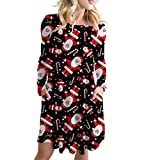 Dasongff Minikleid Frauen Weihnachten Elegant Abendkleider Langarm Santa Outfit Gemütlich Ausgestelltes Kleid Festival Bluse Bunt Tshirt Swing Kleid Freizeitkleid