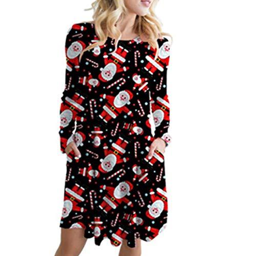 ZODOF Vestidos Mujer Navidad,Vestido Mujer De Fiesta,Mujer Otoño Tallas Grandes,Vintage Impresión Navideña Vestidos Manga Larga Dama's Vestidos de Moda Club,Negro