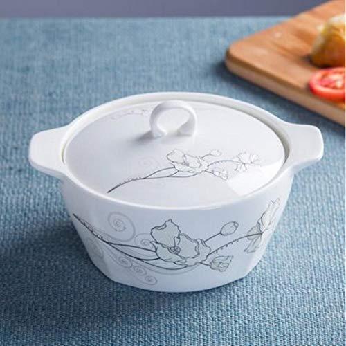 Detazhi - Ciotola per zuppa in porcellana Bone China, con coperchio, 1500 ml