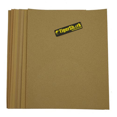 TigerShark 9 inch by 11 inch Sanding Sheets Grit 80/100/120/150/180/220/320/400 8pcs Pack Paper Gold Line Special Anti Clog Coating