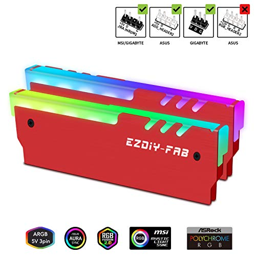 EZDIY-FAB ARGB RAM Kühler RGB DDR Speicher Kühlkörper Kühlweste Fin Strahlung für DIY PC DDR3 DDR4 (kompatibel mit ASUS Aura Sync,GIGABYTE RGB Fusion und MSI Mystic Light Sync) Rot-2 Pack